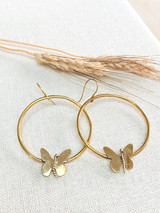 Hand-Hammered Earrings | Hoop Butterfly | Gold Brass | Hand Hammered in Kenya