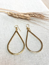 Hand-Hammered Earrings | Tear Drop Dangle | Gold Brass | Hand Hammered in Kenya