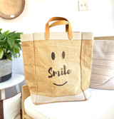 Smile Be Happy | Large - Jute Market Bag | Handmade in Bangladesh