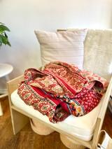 "Quilt Kantha - King  110"" x 96""  | Red Natural Flower Print | Recycled Saris | Handmade in Bangladesh"