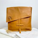 Genuine Leather Satchel/Messenger Bag - Medium   Mustard   Unisex   Handmade in Kenya