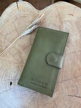 Womens Wallet | Genuine Leather - Ragged Green/Brown | Handmade in Kenya