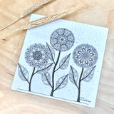 Mandala Birds Flowers | Recycled Paper Plantable Greeting Card | Handmade in South Africa