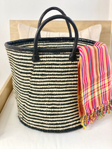 "Kiondo Basket - Black & White Stripe | 14"" - Shopper, Storage, Decor"
