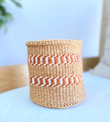 Kiondo Basket - Natural with Two White and Brown Patterned Stripes | 6"