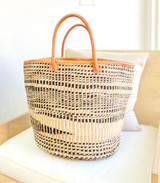 "Kiondo Basket - Black & White Zebra with Natural Design | 14"" - Shopper, Storage, Decor"