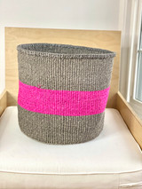 "Kiondo Basket - Grey with Fuschia Stripe | 14"" - Shopper, Storage, Decor"