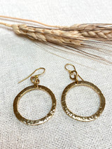 Hand-Hammered Earrings | Ragged Circle | Gold Brass | Hand Hammered in Kenya