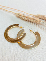 Hand-Hammered Earrings | Mombasa Hoop | Gold Brass | Hand Hammered in Kenya