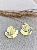Hand-Hammered Earrings | Saturn | Gold Brass | Hand Hammered in Kenya