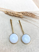 Hand-Hammered Earrings | White Stick Drop | Gold Brass | Hand Hammered in Kenya