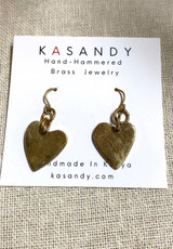 Hand-Hammered Earrings | Judy's Hearts | Gold Brass | Hand Hammered in Kenya