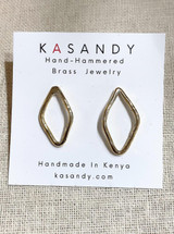 Hand-Hammered Earrings | Jay Studs | Gold Brass | Hand Hammered in Kenya