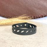 Upcycled Rubber Bracelet | Leaf | Unisex Vegan Jewelry
