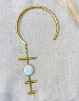 Hand-Hammered Necklace | E White Stone | Gold Brass | Hand Hammered in Kenya