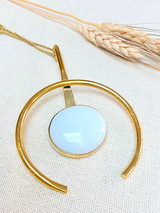 Hand-Hammered Necklace | Hook Eye White Stones | Gold Brass | Hand Hammered in Kenya