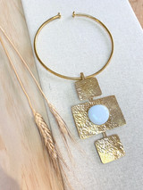 Hand-Hammered Necklace | Three Square White Stone | Gold Brass | Hand Hammered in Kenya