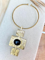 Hand-Hammered Necklace | Three Square Black Stone | Gold Brass | Hand Hammered in Kenya