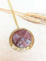 Hand-Hammered Necklace | Purple Stone | Gold Brass | Hand Hammered in Kenya