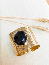 Hand-Hammered Cuff Bracelet| Black Onyx | Gold Brass | Hand Hammered in Kenya