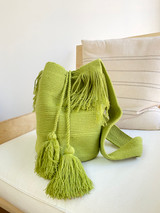 Mochila Wayuu Bag | Lime Green | Handmade in Columbia