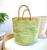 "Kiondo Basket - Green & White Zebra with Natural Design | Leather Trim/Handles | 14"" - Shopper, Storage, Decor"