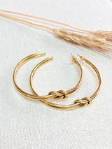 Hand-Hammered Earrings | Hoop Braid | Gold Brass | Hand Hammered in Kenya
