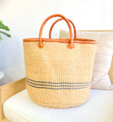 Kiondo Basket - Natural and Three Grey Stripes | Large - Shopper, Storage, Decor