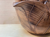 Burned Wood Salad Bowl | Leaf - Medium |  Jacaranda Wood | Handmade In Kenya