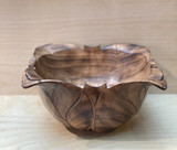 Burned Wood Salad Bowl | Leaf - Small |  Jacaranda Wood | Handmade In Kenya