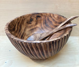 Burned Wood Salad Bowl Set | Zebra Round - Large |  Jacaranda Wood | Handmade In Kenya
