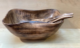 Burned Wood Salad Bowl Set | Pokot Oval - Large |  Jacaranda Wood | Handmade In Kenya