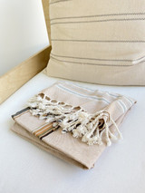 Kikoy Cotton Scarf | Handwoven in Kenya | Beige with Gold Stripe