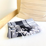 Kikoy Cotton Scarf | Handwoven in Kenya | White & Black