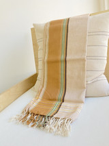 Kikoy Cotton Scarf | Natural with Gold Stripe | Handwoven in Kenya