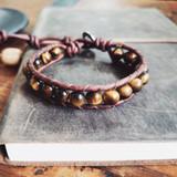 Gemstone Single Wrap Men's Bracelet | Tiger's Eye | Handmade in Victoria