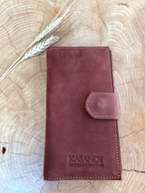 Womens Wallet | Genuine Leather - Dust Red/ Brown | Handmade in Kenya