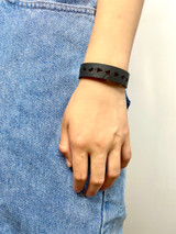 Upcycled Rubber Bracelet | Triangles | Unisex Vegan Jewelry