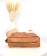 Light Brown Toiletry/Washbag - large | Genuine Leather | Handmade in Kenya