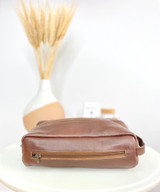 Brown Toiletry/Wash Bag - Large | Genuine Leather | Handmade in Kenya