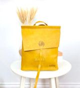 Leather Backpack Mini - Mustard | Genuine Leather | Women's | Handmade in Kenya