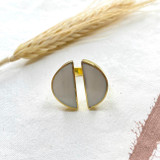 Hand-Hammered Ring| White Onyx Split Circle | Gold Brass | Hand Hammered in Kenya
