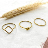 Hand-Hammered Ring | Thin Shaped - Set of 3 | Plain, Pretzel, Diamond | Gold Brass | Hand Hammered in Kenya