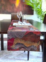 Table Runner | African Kitenge - Red/Brown/Grey Abstract Design | Handmade in Kenya