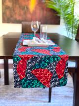 Table Runner | African Kitenge - Green/Grey/Red Stainglass Design | Handmade in Kenya