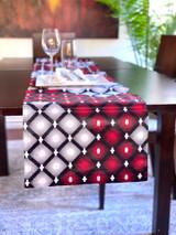Table Runner | African Kitenge - Red/White Diamonds | Handmade in Kenya