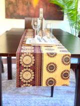 Table Runner | African Kitenge - Brown Flowers | Handmade in Kenya