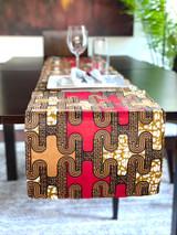 Table Runner | African Kitenge - Red/Brown Abstract Design | Handmade in Kenya