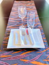 Table Runner | African Kitenge - Brown Abstract Leaves | Handmade in Kenya