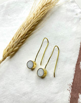 Hand-Hammered Earrings | White Onyx Drop | Gold Brass | Hand Hammered in Kenya
